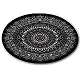 LB [Material Runder Teppich aus Mandala,Spielmatte für Kinder Rutschfest Waschbare weiche Teppichbodenmatte für Kindergarten Wohnzimmer Schlafzimmer Küche, 60x60cm