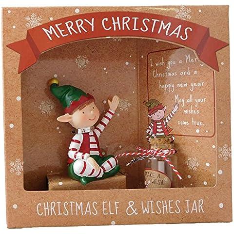 Natale seduto Elf & Wishes Jar - Speciale regalo di Natale - Stocking Fillers - Secret Santa