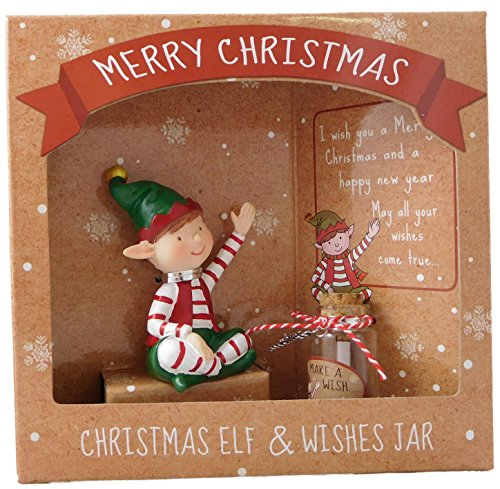 Christmas Sitting Elf & Wishes Jar - Special Christmas Gift - Stocking Fillers - Secret Santa by KT (Elf Christmas Santas)