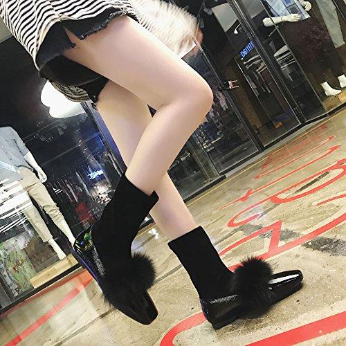 MEI&S Frauen Schuhe mit flachem Boden Elastische Socken, schwarz, 37 (Knöchel-riemen Elastischen)