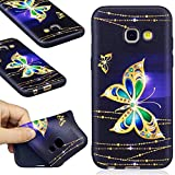 Samsung Galaxy A3 2017 Case, Samsung Galaxy A3 2017 Silicone TPU Transparent Cover, COZY HUT Premium Ultra Slim Thin Silicone Flexible Quality TPU Soft Pattern Design Cute Black Cover, Gel Plastic Protective Shock Absorption Proof Drop Defend Anti Scratch Shell for Samsung Galaxy A3 2017 - Golden butterfly