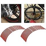 16 Uds cinta reflectante para llanta de rueda, cinta adhesiva para bicicleta, motocicleta, 16-18 pulgadas, pegatinas reflecta
