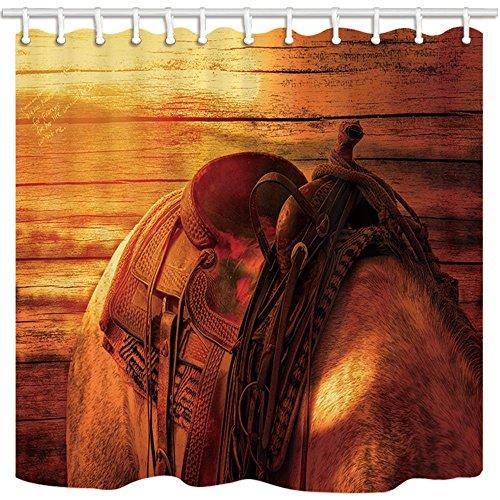 rrfwq Cowboy Duschvorhang Western Vintage Stil Pferd Sattel Holz Hintergrund Badezimmer Polyester-Schimmelresistent-Wasserdicht Duschvorhang Set mit Haken 180x 180cm
