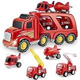 BIMONK Camion dei Pompieri Giocattoli per Bambini, Macchinine per Vigili del Fuoco Modelli Attrito Camion con luci e Suoni, P