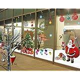 """ufengke® """"Buon Natale"""" Babbo Natale albero di Natale calze di Natale e regali di Natale Adesivi Murali, Camera da Letto Soggiorno Vetrina Adesivi da Parete Removibili/Stickers Murali/Decorazione Murale, Set di 2 Fogli"""