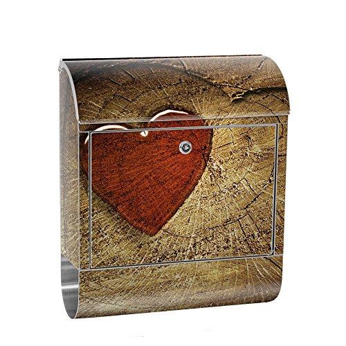 liwwing Briefkasten Edelstahl mit Motiv und Zeitungsfach, Zeitungsrolle als XXL Design Wandbriefkasten | Holz Herz Romantik Liebe Harz | no. 0332