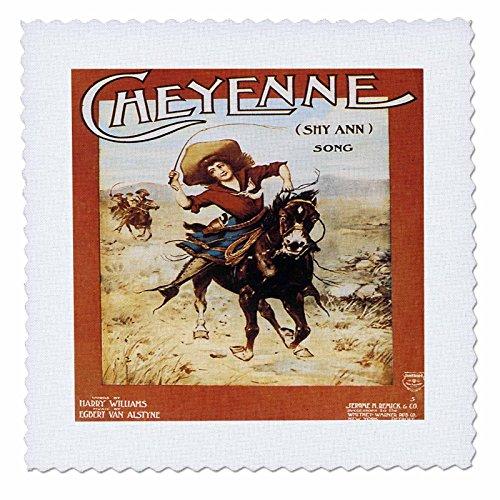 3dRose Cheyenne Lied Frau Riding A galoppierendes Pferd, Quilt, Platz, 10von 25,4cm (QS 169966_ 1) Cheyenne Quilt