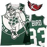 Camiseta de baloncesto Larry Bird S-XXL Boston Celtics # 33 para interior estilo bordado floral