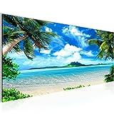Bilder Strand Palmen Wandbild 100 x 40 cm Vlies - Leinwand Bild XXL Format Wandbilder Wohnzimmer Wohnung Deko Kunstdrucke Blau 1 Teilig -100% MADE IN GERMANY - Fertig zum Aufhängen 603312a