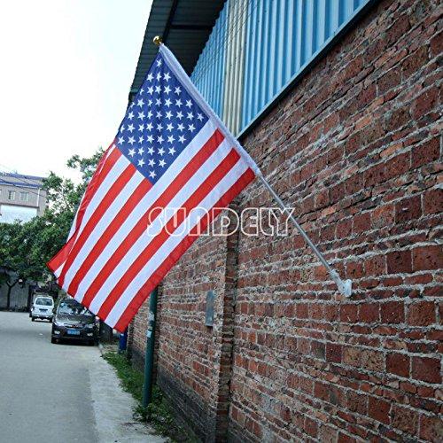 sundely® 6Füße versenkbare Teleskopstange leichtgewichtigen Aluminium Flagge Stange Winkel verstellbar mit Wand montiert Halterung (Flagge nicht im Lieferumfang enthalten)