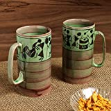 ExclusiveLane 'Two To Tango' Warli Hand-Painted Ceramic Milk Mug Glasses Tumblers Cum Beer Mugs (Set Of 2)