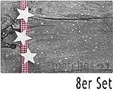 matches21 Tischsets Weihnachten Platzsets MOTIV weiße Sterne & Holzbrett 8 Stk. Kunststoff abwaschbar je 43,5x28,5 cm