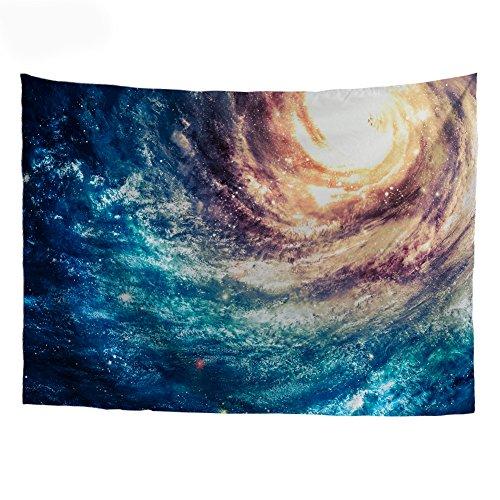 Coloranimal Galaxy Muster Walling Sternenhimmel mit Softness Wandteppich, Outdoor, Strand-Überwurf, Polyester-Mischgewebe, Galaxy-4, 150cm x 210cm(53.06in x 82.68in)