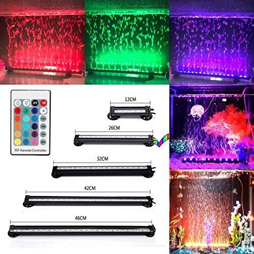 GreenSun LED Lighting 26cm RGB LED Aquarium Bubble Beleuchtung IP68 Wasserdicht Aquariumlampen Luftblase mit 24 Tasten RC Fernbedienung Unterwasserleuchte für Aquarien Fische Tank