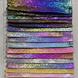 Hongma Lederstoff Farbverlauf Glitzer Muster PU Leder A4