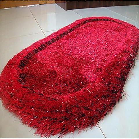 New day-Superfine seta elastico filo ovale tappeto / camera da letto comodino mat / bovindo tappeto , black red , 70*140cm
