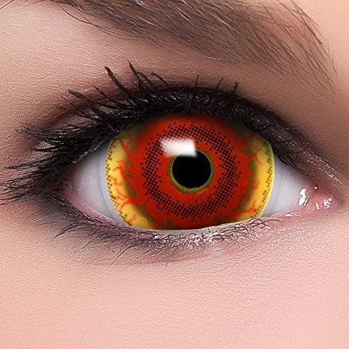 Funzera Mini Sclera Lenti a contatto colorate'Red Monster' con portalenti e 10ml di soluzione combinata - non corrette, in confezione da due: comode da indossare e ideali per Halloween o Carnevale