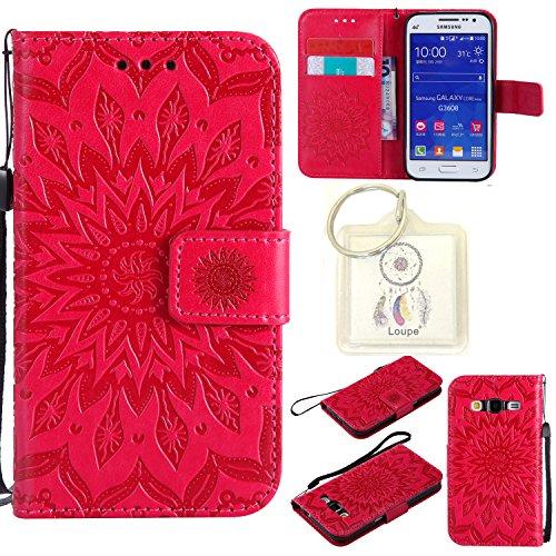 Preisvergleich Produktbild für Galaxy Core Prime SM-G360 G361 (4,5 Zoll) Hülle,Geprägte Muster Handy hülle / Tasche / Cover / Case für das Samsung Galaxy Core Prime SM-G360 G361 (4,5 Zoll) PU Leder Flip Cover Leder Hülle Kunstleder Folio Schutzhülle Wallet Tasche Etui Standfunktion Kredit Kartenfächer+Schlüsselanhänger (T) (8)