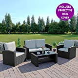 Rattan Outdoor Garden Patio/Conservatory 4 Seater Sofa INCLUDES PROTECTIVE COVER and Armchair set with Cushions and Coffee Table Grey Brown Black (Black with Light Cushions, Algarve 2+1+1)