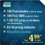 McSIM LTE Mini 1000 [SIM, Micro-SIM und Nano-SIM] monatlich kündbar (1 GB LTE mit max. 50 MBit/s inkl. Datenautomatik, 100 Freiminuten, 100 Frei-SMS, EU-Roaming inklusive, 4,99 Euro/Monat)