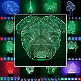 3D Lampe 3D Leuchte 3D LED Stimmungslicht. 7 verschiedene Farben wählbar - Auswahl aus 81 verschiedenen Motiven, hier Mops ca.19x18cm inkl.Sockel - 3D Illusion Dekolicht mit USB Anschluß und 220V USB Netzteil