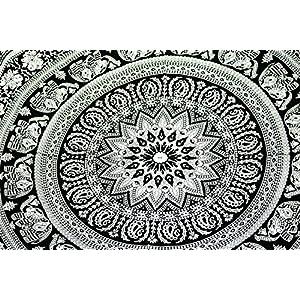 Indische, handgefertigte Wandteppiche, 100 % Baumwolle, schwarz und weiß, Elefantaufdruck, 100 % Baumwolle, multi, DESIGN 1