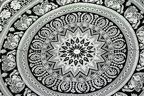 FUTURE HANDMADE Tapiz doble hecho a mano de con diseño de elefante blanco y negro, DESIGN 1
