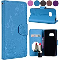 Wallet Case for HTC One M9,Floral Case for HTC One M9,Leeook Elegant Pretty Embossed Flower Butterfly Design Magnetic Closure Bookstyle Soft Inner Pu Leather Stand Wrist Strap Flip Case Cover with Card Slots and Makeup Mirror for HTC One M9 + 1 x Black Stylus-Butterfly,Blue