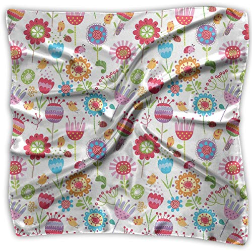 Mixed Designs Silk Square Scarves Bandana Scarf, Floral Arrangement With Many Wildflowers Birds And Bugs Happy Nature Inspired Image,Womens Neck Head Set Uv Buff Bug