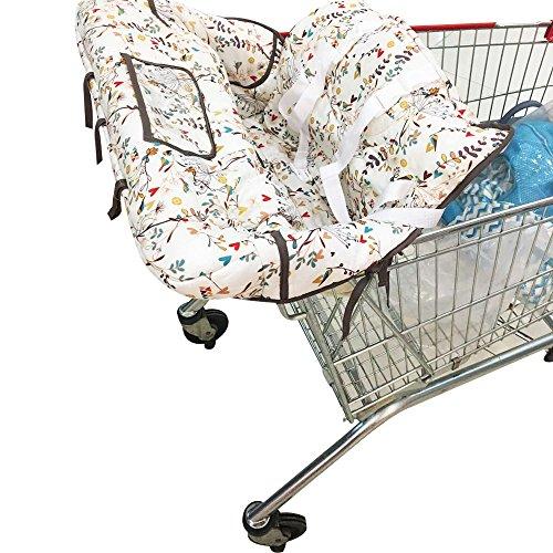 kakiblin Sommer 2-in-1-Infant Baumwolle Warenkorb Bezug und Sitz Positionierer, Universal Größe, Blumen Design (Hochstuhl Abdeckung Sommer)