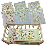 Puppenbettwäsche für Wiege-Puppenwagen-Puppenbett Puppenzubehör Babypuppe Puppen (Blau - Kariert)