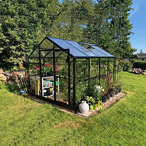 Qwertouy gazebo/giardino di alluminio impermeabili all'aperto serra di colore nero del giardino della serra