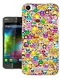 925 - Collage Multi Smiley Faces Emoji Design Wiko Lenny 2 Fashion Trend Protecteur Coque Gel Rubber Silicone protection Case Coque