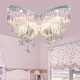 Lilamins Schmetterling Crystal Mädchen Kinder Licht Kreative Beleuchtung für Wohnzimmer, Bad, Schlafzimmer und Esszimmer LED-Deckenleuchten, Fernbedienung Farbe Schmetterling Crystal Lampe 60 cm Led