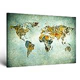 ge-Bildet® Bild auf Leinwand MIT HERBST RABATT 'Weltkarte Retro' Weltkarte Leinwand - 70x50 cm einteilig - direkt vom Hersteller aus Deutschland - Made in Germany 2200 I