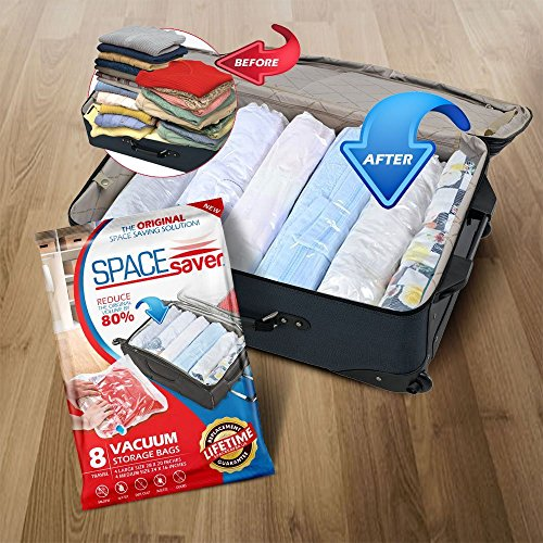 SpaceSaver 8 x Premium Travel Roll Up Compression Storage Bags For Suitcases – No Vacuum Needed – (4 x Large, 4 x Medium) 80% More Storage Than Leading Brands!