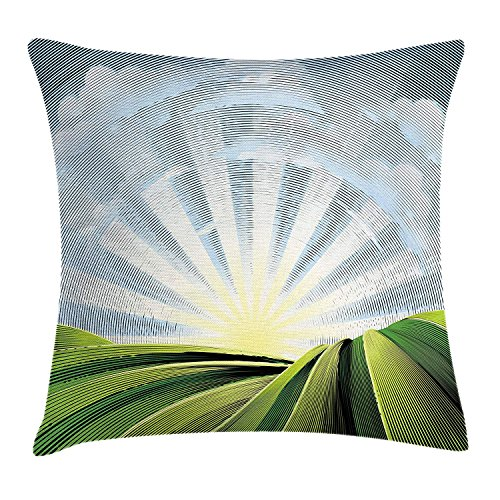 16 Rolling Tote (VTXWL Psychedelic Throw Pillow Cushion Cover, Field Rolling Hills Sunrise Village Pastoral Digital Effects, Decorative Square Accent Pillow Case, 18 X 18 inches, Green Blue and Pale Yellow)