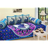 Fresh From Loom Cottontraditional Exclusive Design Pure Cotton Diwan Set - 6Pc, Blue