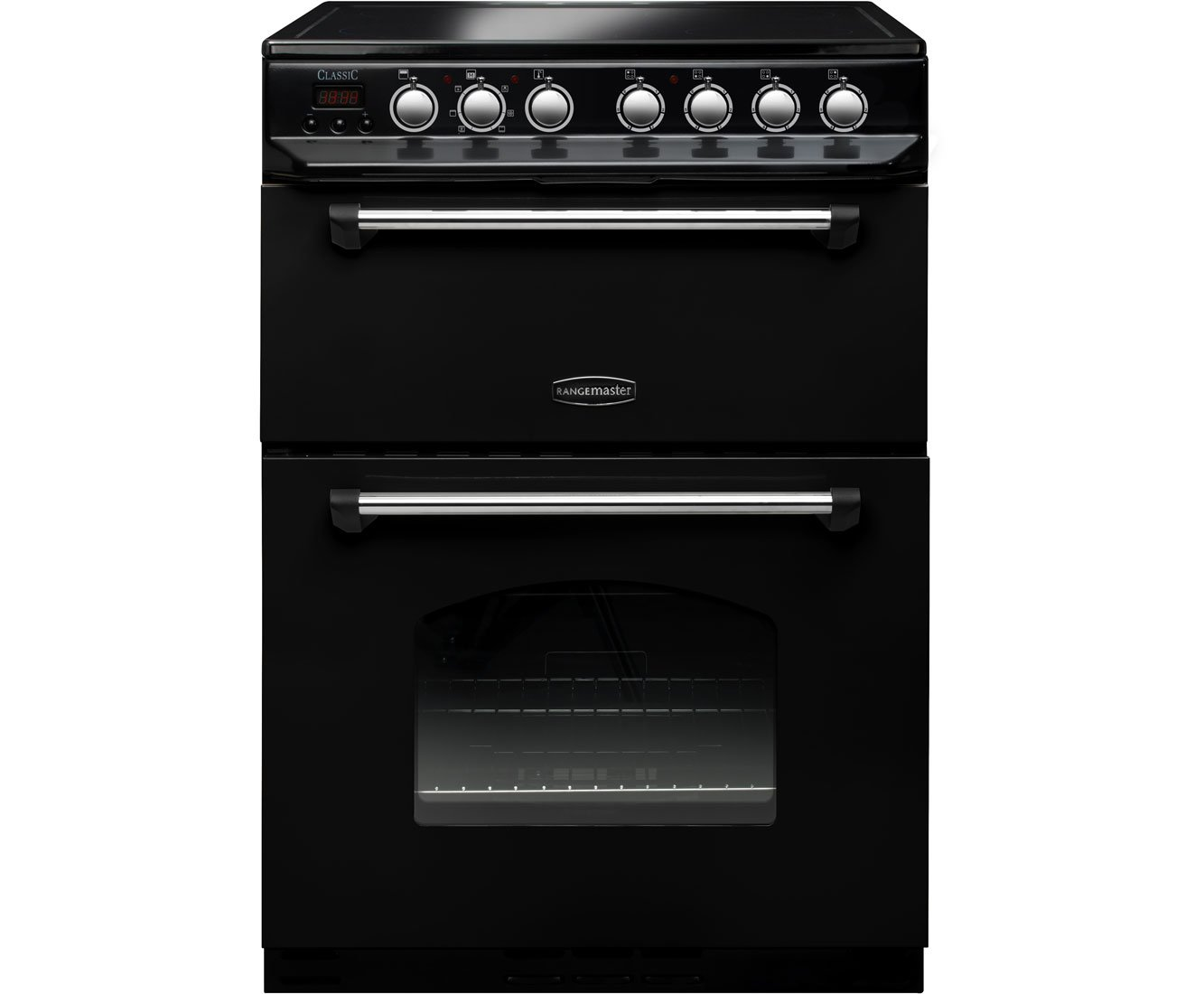 61FRNmtx8FL - Rangemaster 10733 Classic 60cm Electric Cooker with Double Oven and Ceramic Hob Black And Chrome