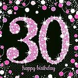 Servietten 30 Geburtstag mit Prägung Pink Schwarz 16 Stück 33x33cm