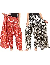 Fashion Store Women Printed Solid Cotton Full Multi-Colored Patiala Salwar With Dupatta Set Of 2(Free Size, Multi-Colored)