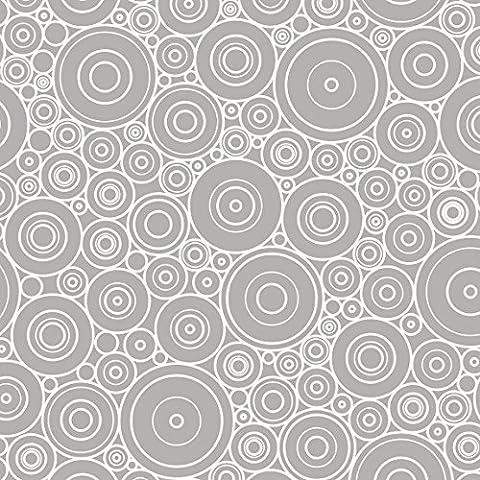 Pellicola adesiva–60er Retro decorazione grigio chiaro bianco, cerchi, Pellicola Schermo