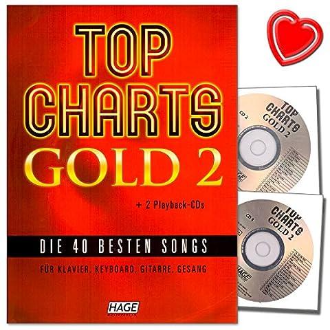 Top Charts Gold 2 - geniale Sammlung der 40 besten Popsongs für Klavierspieler, Keyboarder, Gitarristen und Sänger - mit 2 CDs und bunter herzförmiger Notenklammer