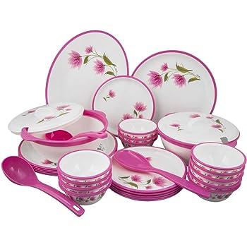 Nayasa Dlx Round Dinner Set, 32-Pieces, Pink