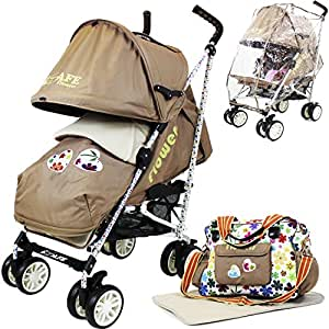 iSafe buggy Stroller Pushchair - Flowers (Complete With Footmuff, Changing Bag, Bumper Bar & Rain cover)