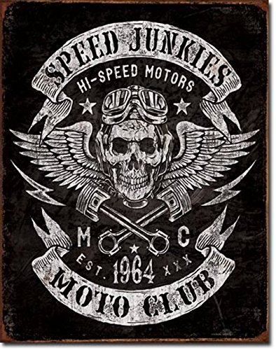 Cartel Metálico Club de Motos Speed Junkies 32x41,5cm