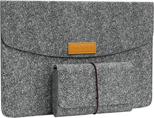 XeloTech Edle Tasche aus Filz für iPad Pro 11 Zoll, iPad 9.7, iPad Pro 10.5 - Mit Zubehörtasche für Ladekabel, Zubehör - Schutzhülle/Hülle für Reise, Uni, Büro - Dunkelgrau