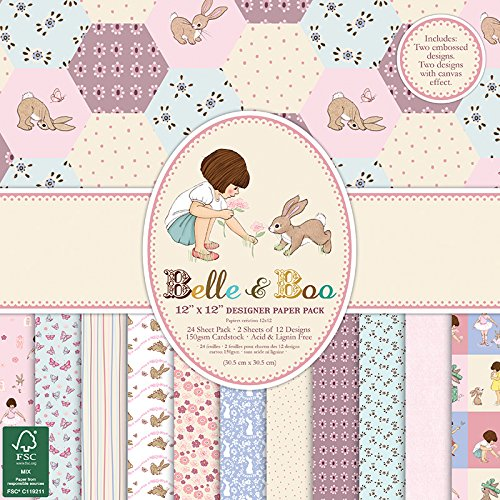 Belle & Boo- Blocchetti di fogli di carta certificata FSC, 30,5x 30,5cm, multicolore