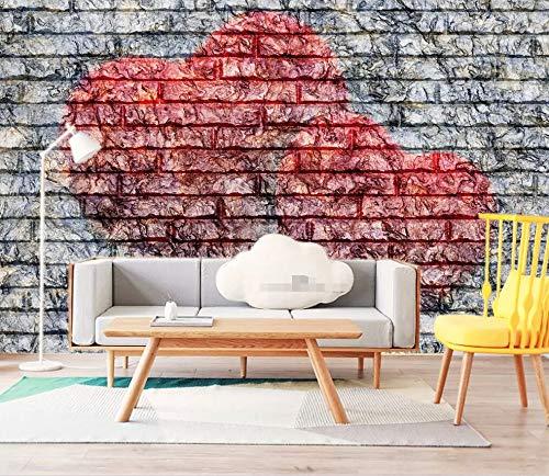 Carta Da Parati Adesiva Muro 3D Vento Industriale Del Muro Di Mattoni A Forma Di Cuore Geometrico Fotomurali 3D Photo Wallpaper Moderna Murale