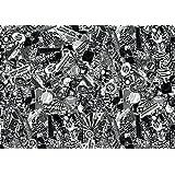 Sticker Bombing 003 - Lámina adhesiva (formato A4, 9 unidades), color blanco y negro